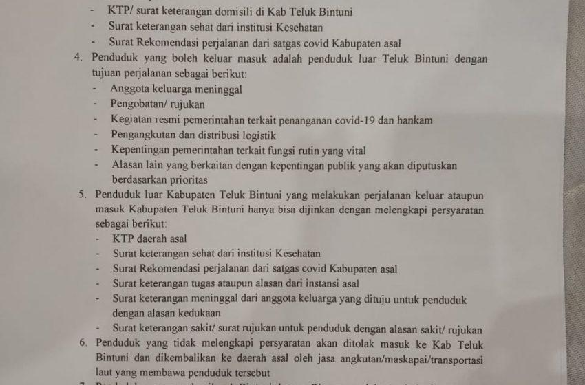 Mulai 23 April, Penduduk Masuk Bintuni Diperketat